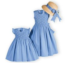 Summer Sky Girl's Smocked Dresses with Natural Straw Hat. Infants Toddlers Girls 12M - 12 |Wooden Soldier