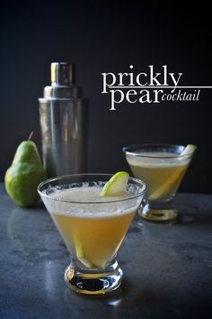 Prickly Pear Cocktail - Pear, Honey, Lime Juice, Bourbon, Ginger Ale.