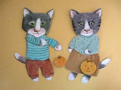 cat art articulated paper doll- hand cut- hand painted, via Etsy.