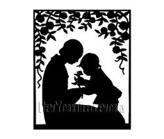 Mother and Child Silhouette Pattern by NewYorkNeedleworks on Etsy, $8.50