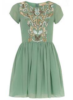 Mint green embellished dress - Fit & Flare Dresses - Dresses