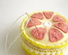 grapefruit pin cushion