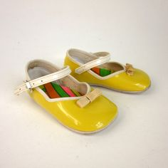Mod Yellow Patent Leather Baby Mary Jane Shoes