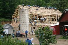 Raising a barn, Amish-style, near Westby, WI