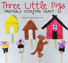 three little pigs craft, free puppets with stories, 3 little pigs craft, fairi tale, story time crafts, printabl, preschool, diy pig crafts, kid