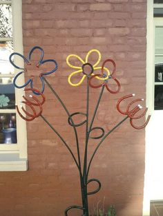 Horseshoe Flower Garden Decoration by hippiescreations on Etsy, $42.00