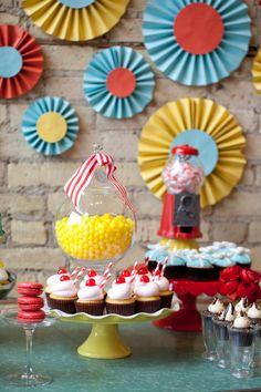 wedding dessert buffet inspired by retro soda shoppe
