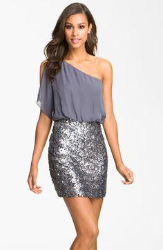 Sequin One Shoulder Chiffon Dress