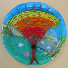 weaving an autumn tree on a paper or plastic plate