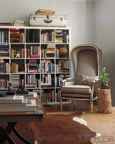 chair, living rooms, palm beach, elle decor, beach living, bookcas style, cowhide rugs, bookcase styling, shelv