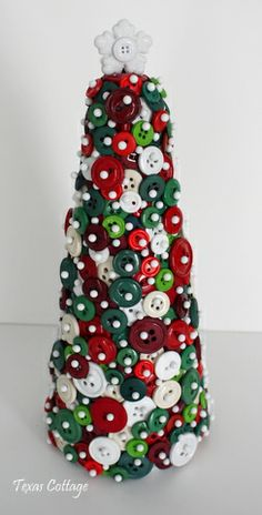 Button Christmas Tree - easy craft for Christmas