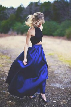 Blue full length skirt with black cropped top