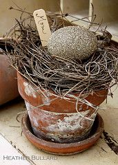 "rustic Easter place ""pots""... maybe add sheet moss or reindeer moss for some color"