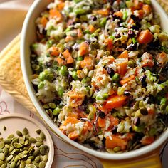Great for vegetarian guests, this hearty rice casserole is full of good-for-you ingredients like black beans, edamame, and sweet potato: http://www.bhg.com/recipes/casseroles/company-worthy-casseroles/?socsrc=bhgpin041714sweetpotatoandrice&page=8
