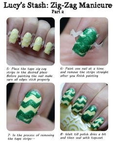 Lucy's Stash: Spring Zig-Zag manicure with Tutorial/How to! 2