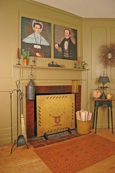 Circa Home Living Great Room ~ Early American portraits, colonial stenciled floor cloth and fire screen, punched tin lantern and mustard painted walls complete a beautiful design. fireplac, mantel, colonialprimit, clothsfloor stencil, primit coloni, coloni decor, hearth, fireboard, countri coloni