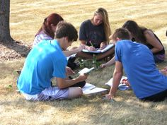 Group of Honors Biology students identify trees.