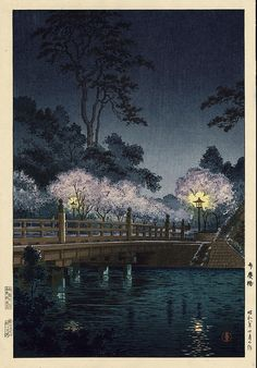 "Tsuchiya Koitsu ""Bridge of Cherry Blossoms"""