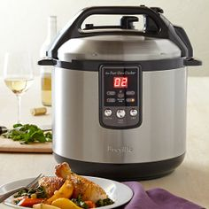 Breville Fast Slow Cooker via williamssonoma: Preprogrammed settings include sauté/sear; slow cook high; slow cook low; pressure cook high, medium and low; steam; and keep warm. #Cooking #Pressure_Cooker #Breville