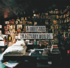 A thousand imaginary worlds. A little bigger bed and this would be my dream bedroom!!!