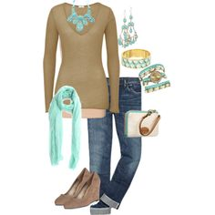 turquoise and beige - Polyvore