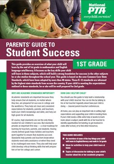 Parent's Guide (by grade level): http://www.pta.org/4446.htm
