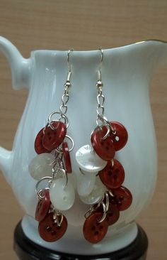 Wine red and white button earrings recycle by BeautyRecycled, $12.00