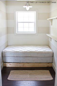 small basement bedroom, redo basement into bedroom, room redo, read room, bedroom tiny, tiny bedroom, tiny room, stripe, bedroom revamp