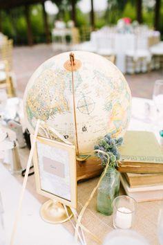 Globe as part of a centerpiece- love! // Photographer: Melissa Biador, Wedding Planner/Coordinator: Joyful Weddings & Events , Flowers & Decor: Forever Vintage Rentals, see more: http://theeverylastdetail.com/blush-vintage-travel-themed-wedding/