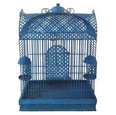 Blue Metal Bird Cage, Made in Brooklyn, N.Y. by Le Bert c1930-1940