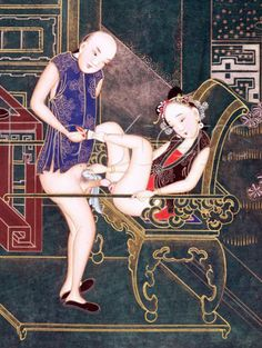 Here is an example of a classic piece of Chinese erotic art. Notice how the flowers in her hair have been rendered with wonderful detail and the fine scrolling design in garments of both him and her. kamasutra