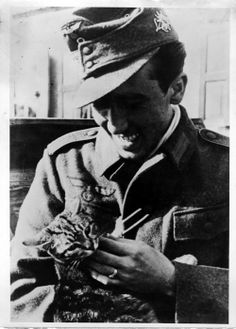 German soldier and a kitty (WWII).