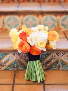 poppy bouquet, photo by Melanie Gabrielle Photography http://ruffledblog.com/villa-woodbine-wedding-inspiration #weddingbouquet #flowers #poppies