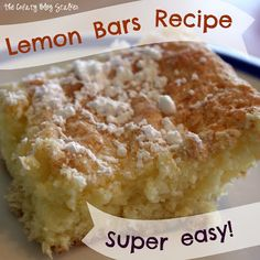 Yummy Lemon Bars - Super Easy! Angel food cake mix + lemon pie filling (she used Jello pudding/pie filling following instructions on box or use canned filling)