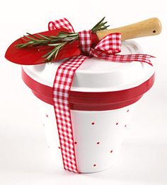 Gardening Gift  paint a flowerpot and saucer with glossy white paint. Use a foam brush to paint the rims with a coordinating color. Fill with potting soil and a packet of seeds. turn saucer over top of the pot. tie with a ribbon and tuck a trowel in the bow :)