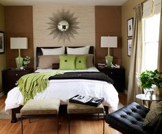 Soothing shades of brown and green create a calming bedroom. More bedrooms decorated in green. Too bad having a dog who will only sleep on our bed totally ruins a white comforter :(