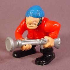 Fisher Price 1995 Pirate Figure, Blue Hat, Long Silver Musket Gun, 7043 77043 Adventures Pirate Ship