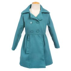 Turquoise Cozy Wool Blend Girl Peacoat