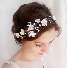 bridal hair accessories wedding flower headpiece by thehoneycomb, $95.00