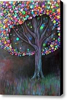 button art, diy crafts, color, acrylics, diy artwork, tree art, tree paintings, print, button tree
