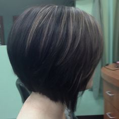 Sharp angled stacked bob.