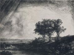 The Three Trees - Rembrandt Etching, Drypoint and Engraving