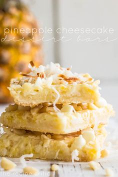 Pineapple Cheesecake Dessert Bars Recipe ~ Delicious and creamy pineapple cheesecake bars give you the perfect taste of Hawaii!