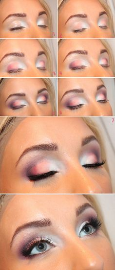 White and Pink Eye Shadow Makeup Tutorial