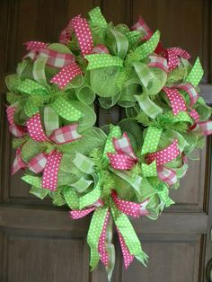 Green and Pink Spring and Summer Deco Mesh Wreath