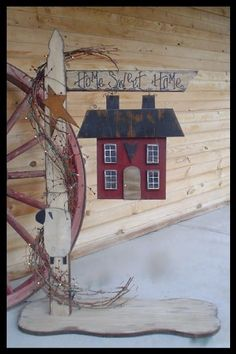 """Primitive Wood Craft Pattern """"Lighted Home Sweet Home Post"""" 
