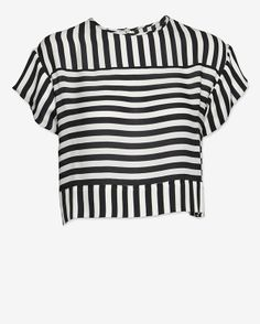 Chelsea Flower #EXCLUSIVE Mixed Direction Chiffon Striped Crop Blouse at @INTERMIX