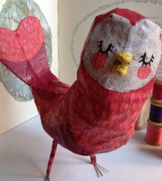 Rouge papier mâché Bird - grand