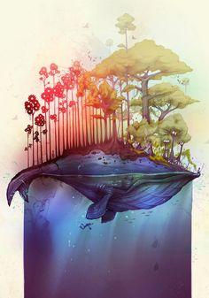 Illustration by Thiago Neumann art illustrations, thiago neumann, islands, inspir, artist, earth, tattoo, thiagoneumann, whales