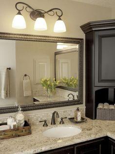 color, light fixtures, black cabinets, framed mirrors, corner cabinets, bathroom designs, bathroom ideas, master baths, countertop